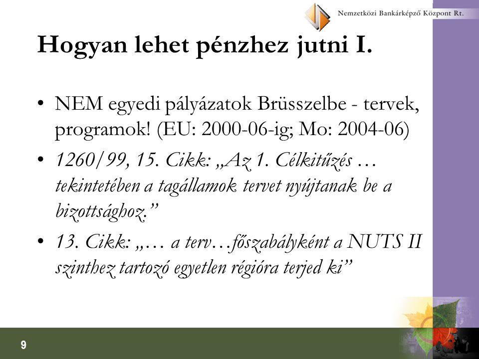 """9 Hogyan lehet pénzhez jutni I. NEM egyedi pályázatok Brüsszelbe - tervek, programok! (EU: 2000-06-ig; Mo: 2004-06) 1260/99, 15. Cikk: """"Az 1. Célkitűz"""