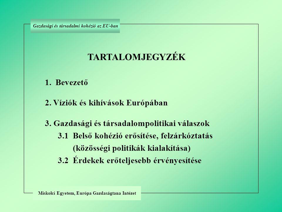 Miskolci Egyetem, Európa Gazdaságtana Intézet TARTALOMJEGYZÉK 1. Bevezető 2. Víziók és kihívások Európában 3. Gazdasági és társadalompolitikai válaszo