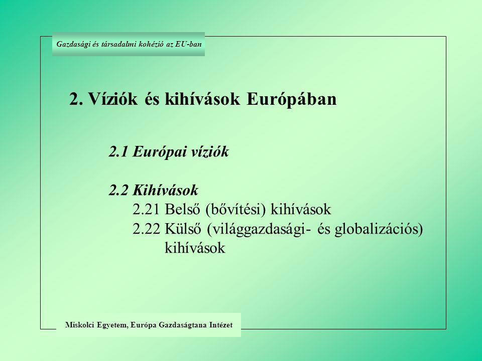 Miskolci Egyetem, Európa Gazdaságtana Intézet Gazdasági és társadalmi kohézió az EU-ban 2.11 Politikai víziók (a) Nemzetállami jelleg feloldása (európai béke feltétele) (b) Európai nemzetek közeledése (c) Európa geopolitika térvesztésének megállítása 2.1 Az európai egység víziója