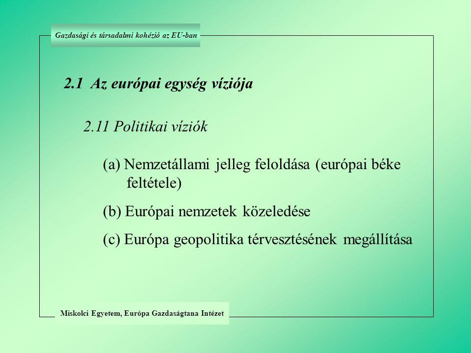 2.1 (a) Az európai egység politikai víziója: a nemzetállami jelleg feloldása (európai béke feltétele) Miskolci Egyetem, Európa Gazdaságtana Intézet Gazdasági és társadalmi kohézió az EU-ban