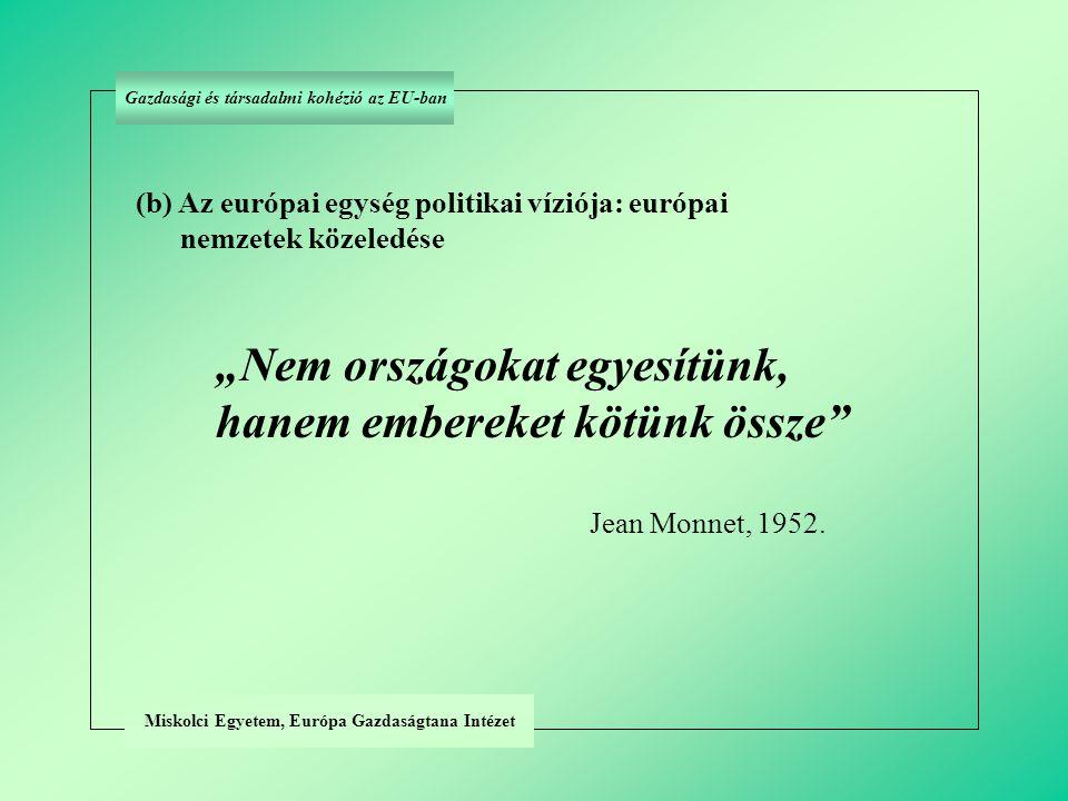 """Miskolci Egyetem, Európa Gazdaságtana Intézet (b) Az európai egység politikai víziója: európai nemzetek közeledése """"Nem országokat egyesítünk, hanem embereket kötünk össze Jean Monnet, 1952."""