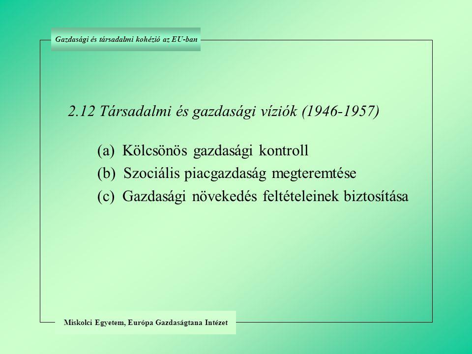 Miskolci Egyetem, Európa Gazdaságtana Intézet 2.12 Társadalmi és gazdasági víziók (1946-1957) (a) Kölcsönös gazdasági kontroll (b) Szociális piacgazdaság megteremtése (c) Gazdasági növekedés feltételeinek biztosítása Gazdasági és társadalmi kohézió az EU-ban
