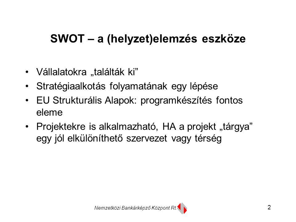 """Nemzetközi Bankárképző Központ Rt. 2 SWOT – a (helyzet)elemzés eszköze Vállalatokra """"találták ki"""" Stratégiaalkotás folyamatának egy lépése EU Struktur"""