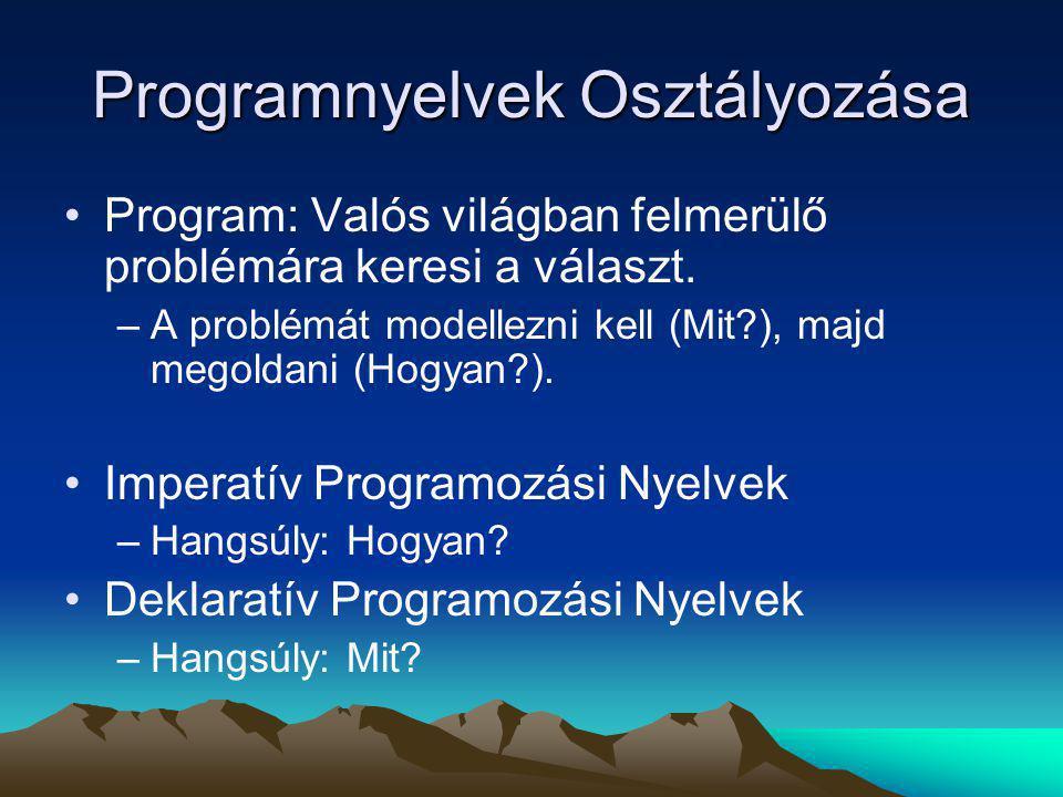 Deklaratív Programozási Nyelvek Logikai –Alapegység: Predikátum –Pl.: Prolog Funkcionális –Alapegység: Függvény –Pl.: SML, Lisp, Clean