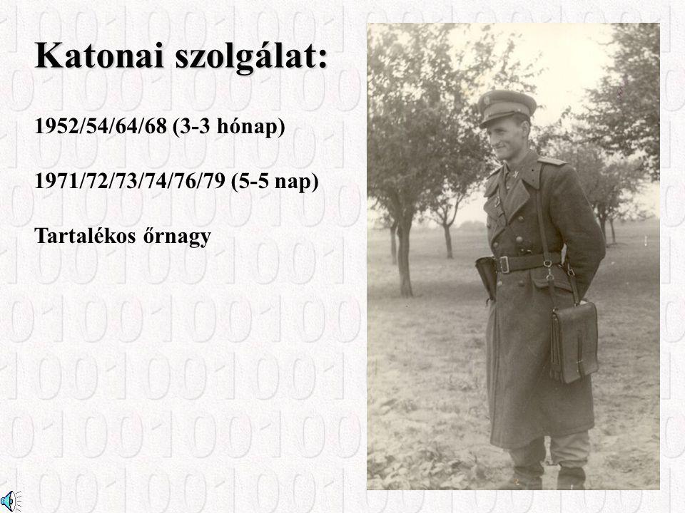 Katonai szolgálat: 1952/54/64/68 (3-3 hónap) 1971/72/73/74/76/79 (5-5 nap) Tartalékos őrnagy