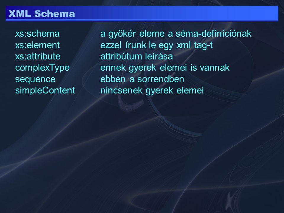 XML Schema <xs:element minOccurs= 1 maxOccurs= unbounded name= person > <xs:element minOccurs= 1 maxOccurs= unbounded name= person > maxOccurs maximális előfordulások száma (def 1) minOccursminimális előfordulások száma (def 1) lehet konkrét szám 0 unbound