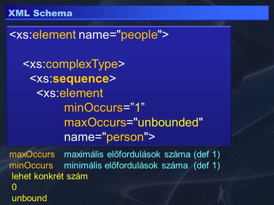 XML Schema sequence csak adot sorrendben allbármely sorrendben (de csak 1 db) choicevagy egyik vagy másik