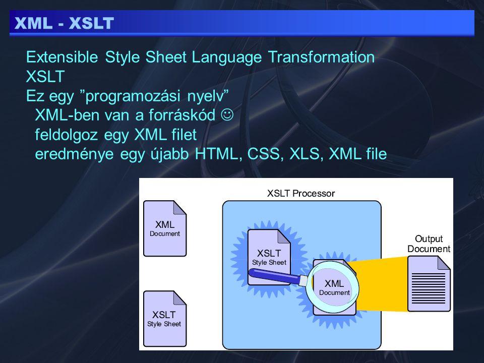 XML - XSLT Extensible Style Sheet Language Transformation XSLT Ez egy programozási nyelv XML-ben van a forráskód feldolgoz egy XML filet eredménye egy újabb HTML, CSS, XLS, XML file
