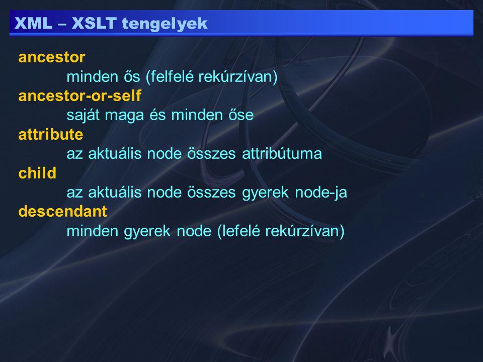 XML – XSLT tengelyek ancestor minden ős (felfelé rekúrzívan) ancestor-or-self saját maga és minden őse attribute az aktuális node összes attribútuma child az aktuális node összes gyerek node-ja descendant minden gyerek node (lefelé rekúrzívan)