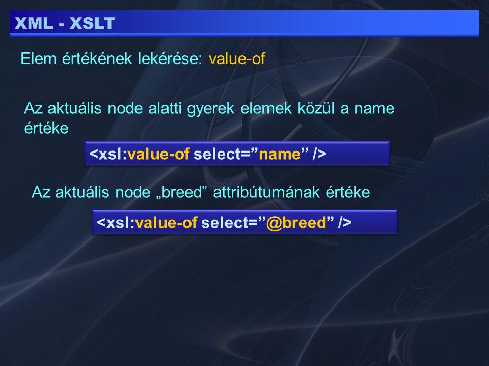 """XML - XSLT Elem értékének lekérése: value-of Az aktuális node alatti gyerek elemek közül a name értéke Az aktuális node """"breed attribútumának értéke"""