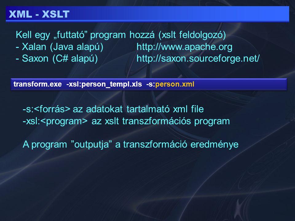 """XML - XSLT Kell egy """"futtató program hozzá (xslt feldolgozó) - Xalan (Java alapú) http://www.apache.org - Saxon (C# alapú) http://saxon.sourceforge.net/ transform.exe -xsl:person_templ.xls -s:person.xml -s: az adatokat tartalmató xml file -xsl: az xslt transzformációs program A program outputja a transzformáció eredménye"""