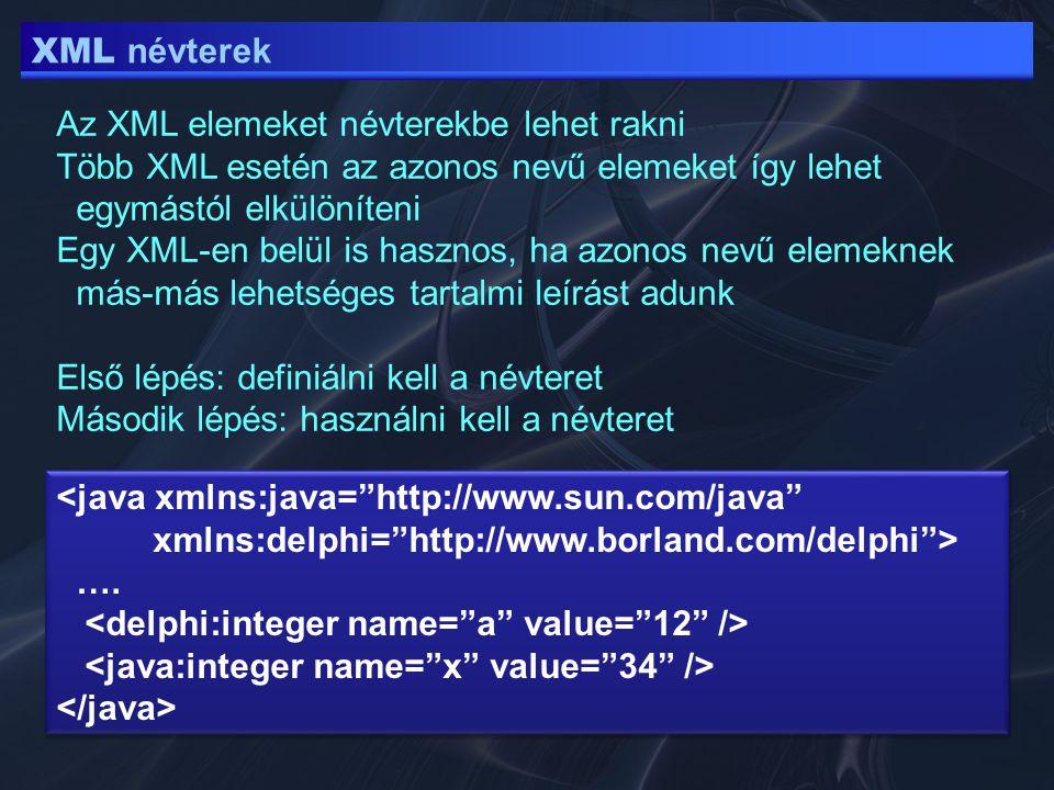 XML – XSLT tengelyek following az aktuális node bezáró tagja után _minden_ following-sibling az akt.node után következő minden testvér namespace az akt.node minden névtér node -ja parent az őse az akt.node-nak preceding a megelőző tartalom (akt.node előtti tartalom) preceding-sibling node előtti összes testvér self saját maga