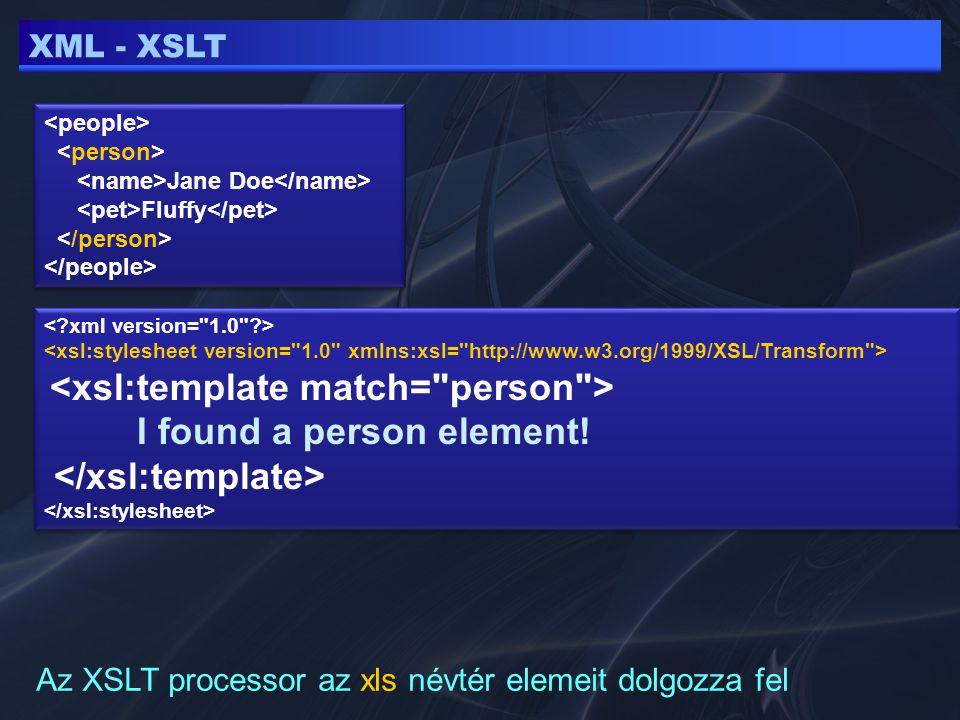 """XML - XPATH Leíró technika, elemeket azonosít egy XML-en belül A gyökér elemet / jel szimbolizálja /people/person/name - minden """"name elemet kiválaszt a /people/person-n belül"""