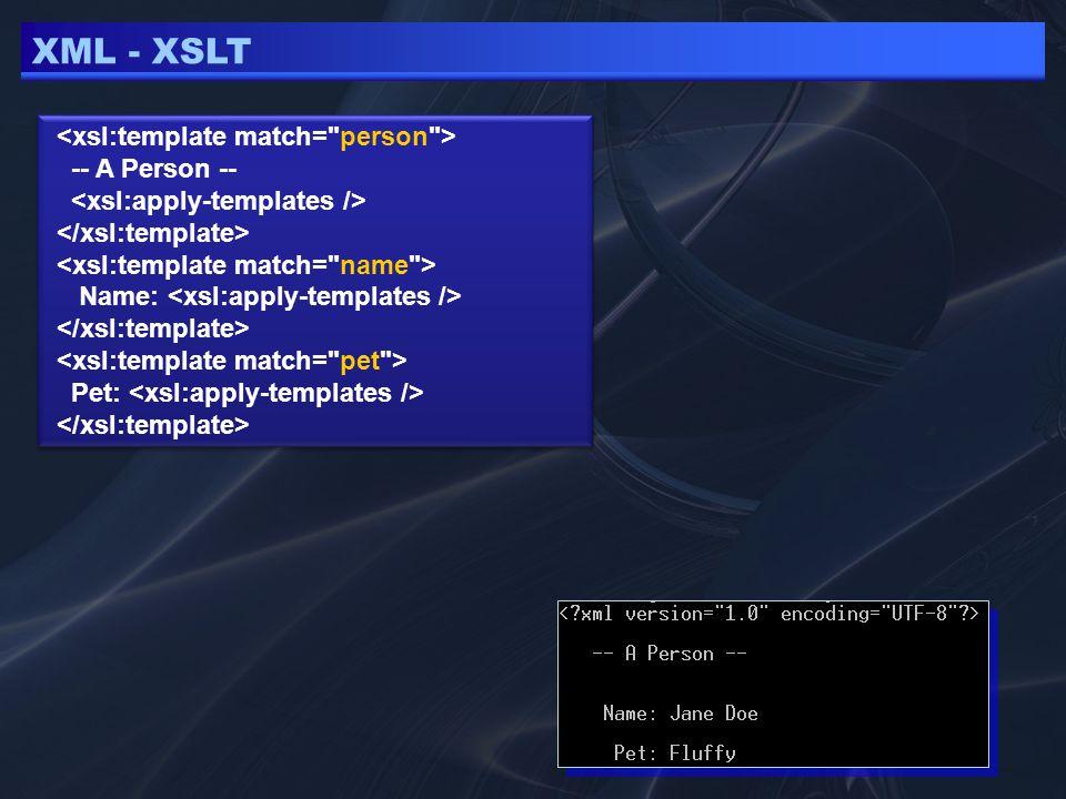 XML - XSLT … szöveg kiiírás … … szöveg kiiírás … Feltételes output készítése