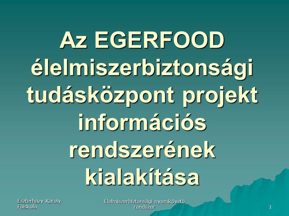 Eszterházy Károly Főiskola Élelmiszerbiztonsági nyomkövető rendszer 1 Az EGERFOOD élelmiszerbiztonsági tudásközpont projekt információs rendszerének kialakítása