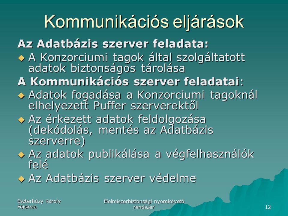Eszterházy Károly Főiskola Élelmiszerbiztonsági nyomkövető rendszer 12 Az Adatbázis szerver feladata:  A Konzorciumi tagok által szolgáltatott adatok