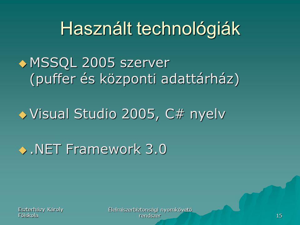 Eszterházy Károly Főiskola Élelmiszerbiztonsági nyomkövető rendszer 15 Használt technológiák  MSSQL 2005 szerver (puffer és központi adattárház)  Visual Studio 2005, C# nyelv .NET Framework 3.0