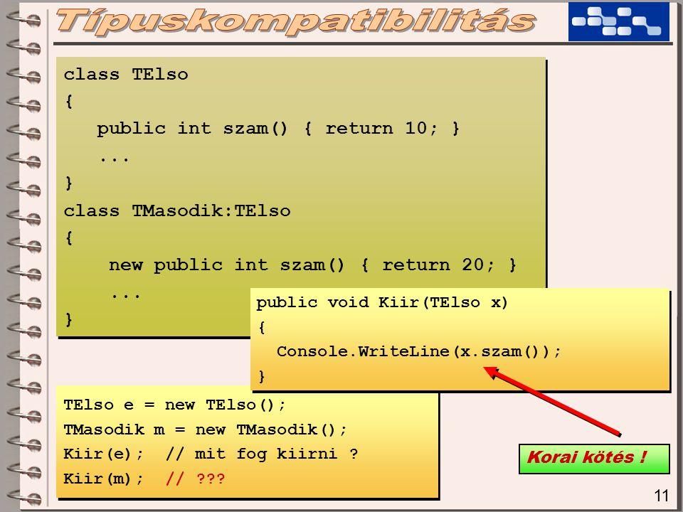 11 TElso e = new TElso(); TMasodik m = new TMasodik(); Kiir(e); // mit fog kiirni .
