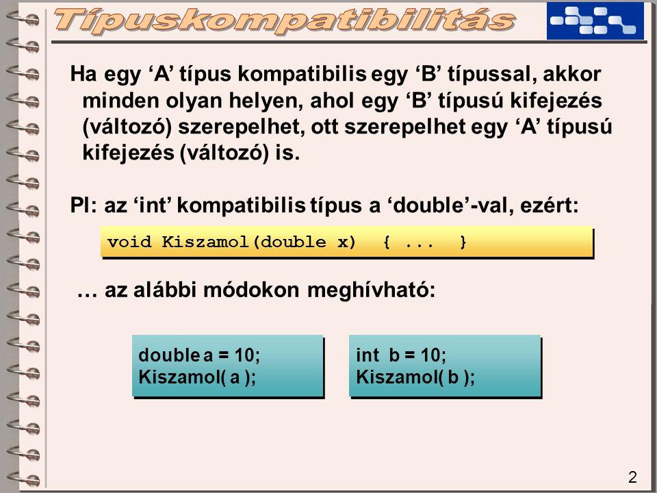 13 TElso e = new TElso(); TElso m = new TMasodik(); Kiir(e); // mit fog kiirni .