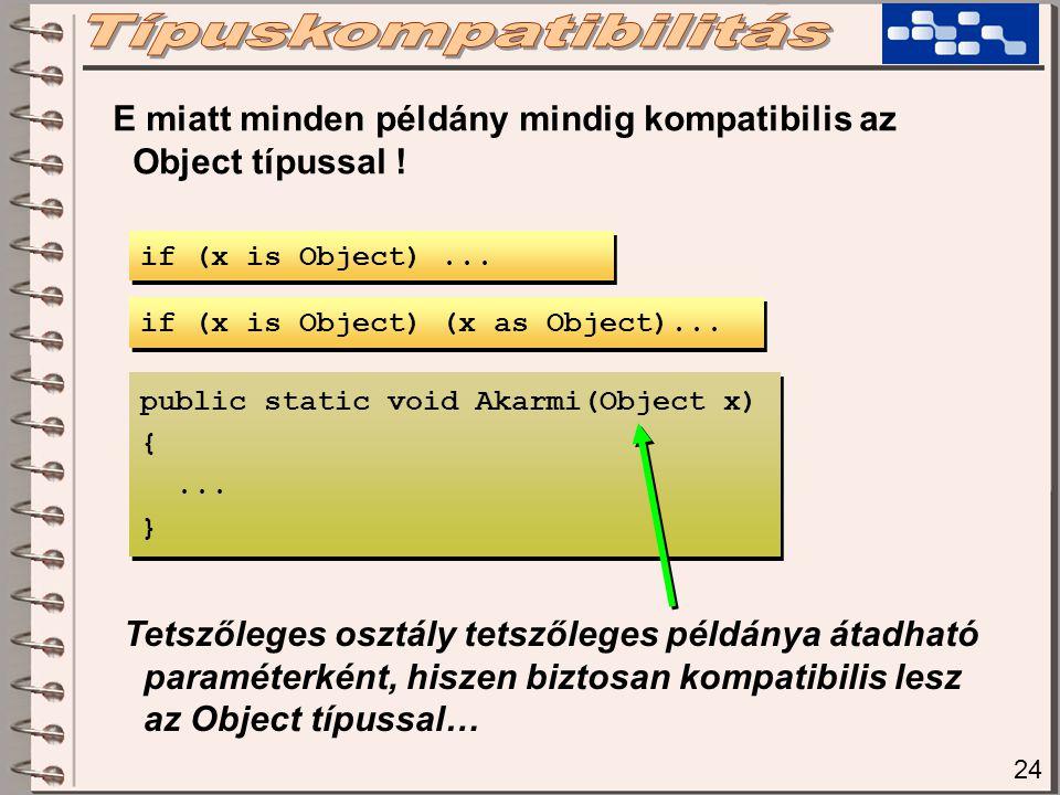 24 E miatt minden példány mindig kompatibilis az Object típussal .