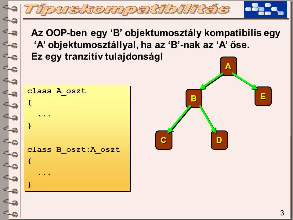 4 Az OOP-ben egy 'B' objektumosztály kompatibilis egy 'A' objektumosztállyal, ha az 'B'-nak az 'A' őse.