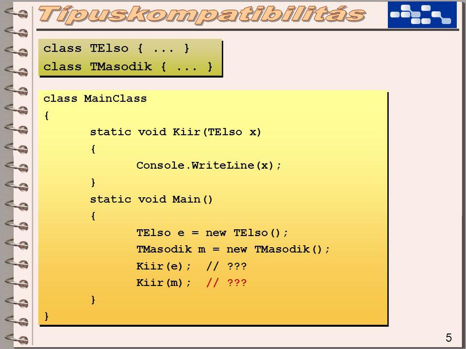 16 public void Kiir(TElso x) { if (x is TElso)...; if (x is TMasodik)...; } public void Kiir(TElso x) { if (x is TElso)...; if (x is TMasodik)...; } A típusellenőrzés az 'is' operátorral történik.