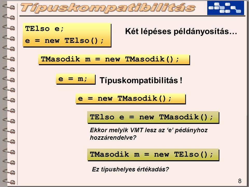 19 public void Kiir(TElso x) { if (x is TElso) ((TElso)x).Kiir(); if (x is TMasodik) ((TMasodik)x).Feltolt(); } public void Kiir(TElso x) { if (x is TElso) ((TElso)x).Kiir(); if (x is TMasodik) ((TMasodik)x).Feltolt(); } A típuskényszerítés történhet a C-s formában is Alakja: (OSZTÁLY)PÉLDÁNY Sajnos a '.' (pont) operátor magasabb prioritású, mint a típuskényszerítés, ezért az alábbi forma nem megfelelő: (TMasodik)x.Feltolt(); Ez szintaktikailag nem helytelen, de jelentése szerint a Feltolt() által visszaadott értéket típuskényszeríti 'TMasodik' típusra…