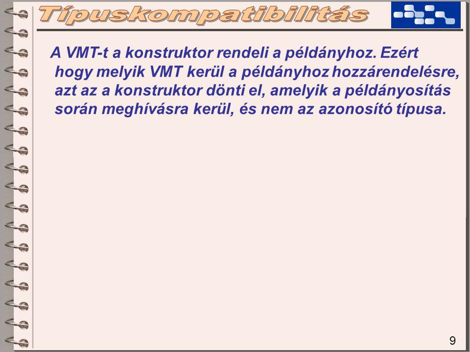 10 class MainClass { static void Kiir(TElso x) { Console.WriteLine(x.szam()); } static void Main() { TElso e = new TElso(); TMasodik m = new TMasodik(); Kiir(e); // mit fog kiirni .