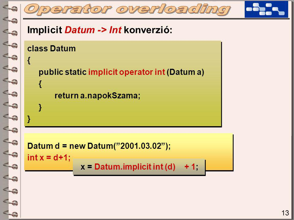 13 class Datum { public static implicit operator int (Datum a) { return a.napokSzama; } class Datum { public static implicit operator int (Datum a) { return a.napokSzama; } Implicit Datum -> Int konverzió: Datum d = new Datum( 2001.03.02 ); int x = d+1; Datum d = new Datum( 2001.03.02 ); int x = d+1; x = Datum.implicit int (d) + 1;