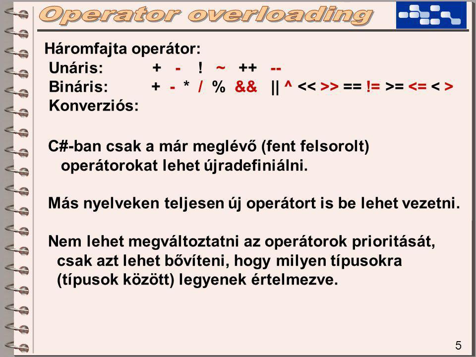 5 Háromfajta operátor: Unáris: + - .
