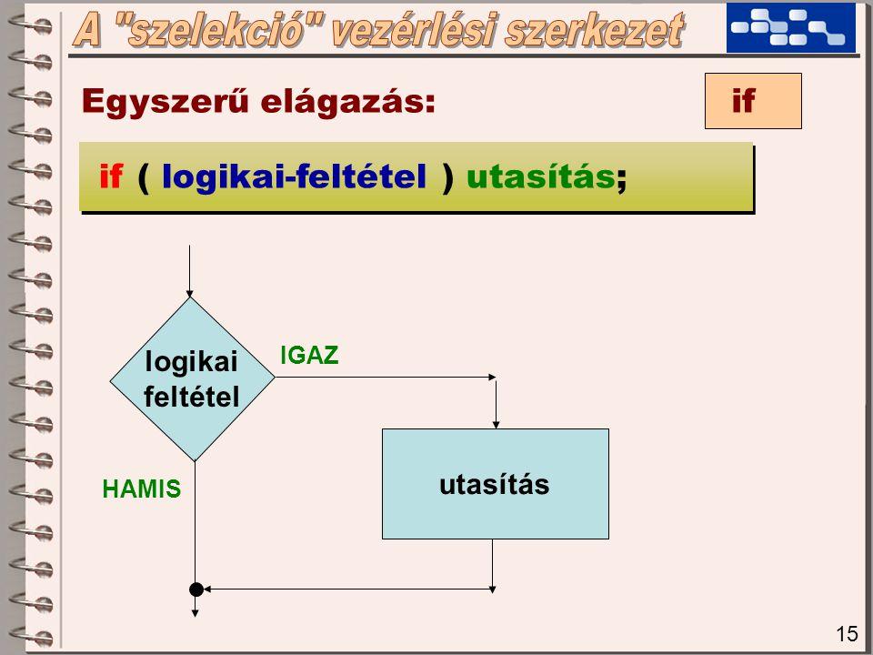 15 Egyszerű elágazás: if if ( logikai-feltétel ) utasítás; logikai feltétel utasítás IGAZ HAMIS
