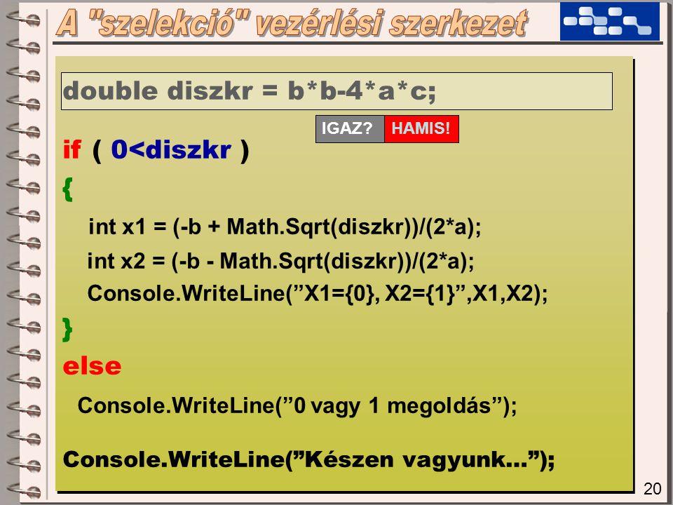 20 double diszkr = b*b-4*a*c; if ( 0<diszkr ) { int x1 = (-b + Math.Sqrt(diszkr))/(2*a); int x2 = (-b - Math.Sqrt(diszkr))/(2*a); Console.WriteLine( X1={0}, X2={1} ,X1,X2); } else Console.WriteLine( 0 vagy 1 megoldás ); Console.WriteLine( Készen vagyunk… ); double diszkr = b*b-4*a*c; if ( 0<diszkr ) { int x1 = (-b + Math.Sqrt(diszkr))/(2*a); int x2 = (-b - Math.Sqrt(diszkr))/(2*a); Console.WriteLine( X1={0}, X2={1} ,X1,X2); } else Console.WriteLine( 0 vagy 1 megoldás ); Console.WriteLine( Készen vagyunk… ); IGAZ.