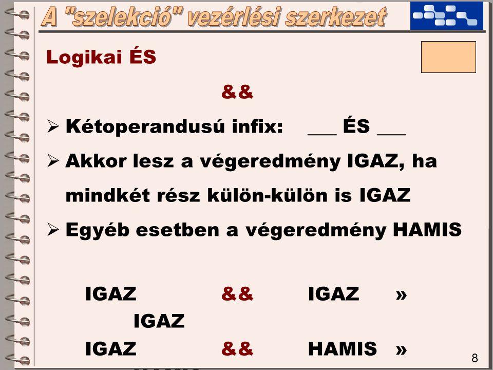 8 Logikai ÉS &&  Kétoperandusú infix:___ ÉS ___  Akkor lesz a végeredmény IGAZ, ha mindkét rész külön-külön is IGAZ  Egyéb esetben a végeredmény HAMIS IGAZ && IGAZ» IGAZ IGAZ && HAMIS» HAMIS HAMIS && IGAZ» HAMIS HAMIS && HAMIS» HAMIS