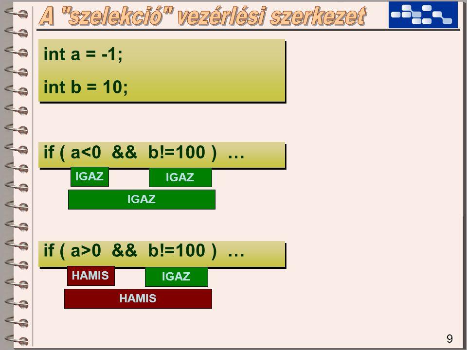 9 int a = -1; int b = 10; if ( a<0 && b!=100 ) … if ( a>0 && b!=100 ) … IGAZ HAMIS IGAZ HAMIS