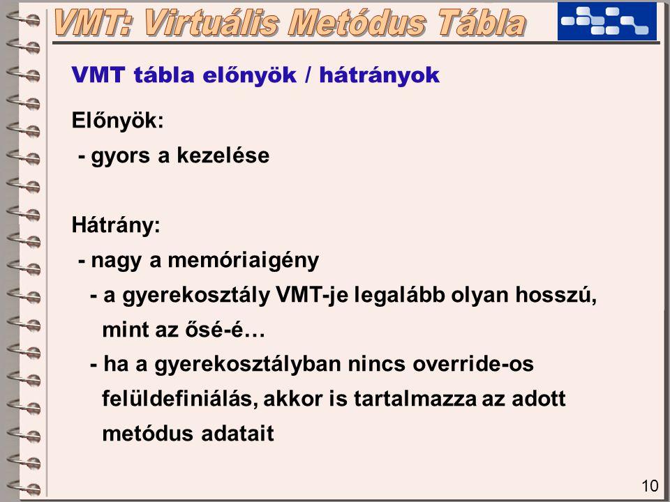 10 VMT tábla előnyök / hátrányok Előnyök: - gyors a kezelése Hátrány: - nagy a memóriaigény - a gyerekosztály VMT-je legalább olyan hosszú, mint az ős
