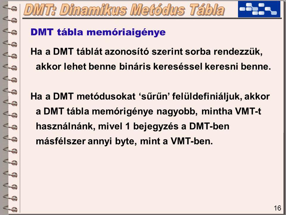16 DMT tábla memóriaigénye Ha a DMT táblát azonosító szerint sorba rendezzük, akkor lehet benne bináris kereséssel keresni benne. Ha a DMT metódusokat
