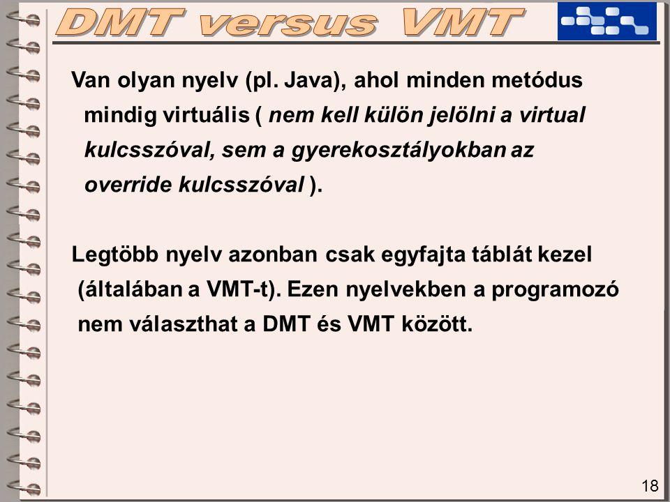 18 Van olyan nyelv (pl. Java), ahol minden metódus mindig virtuális ( nem kell külön jelölni a virtual kulcsszóval, sem a gyerekosztályokban az overri