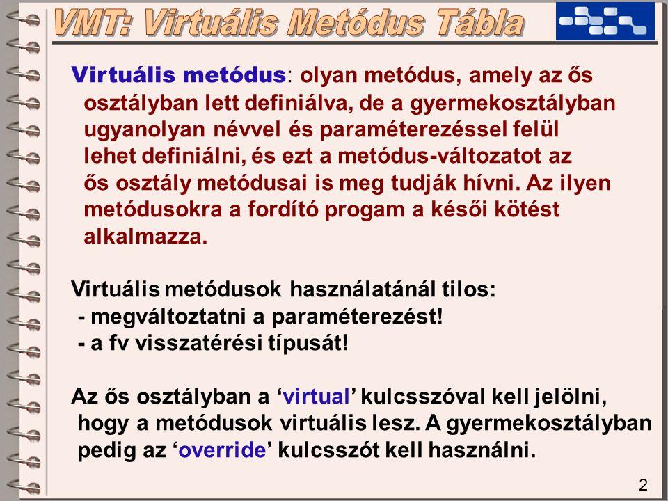 2 Virtuális metódus : olyan metódus, amely az ős osztályban lett definiálva, de a gyermekosztályban ugyanolyan névvel és paraméterezéssel felül lehet