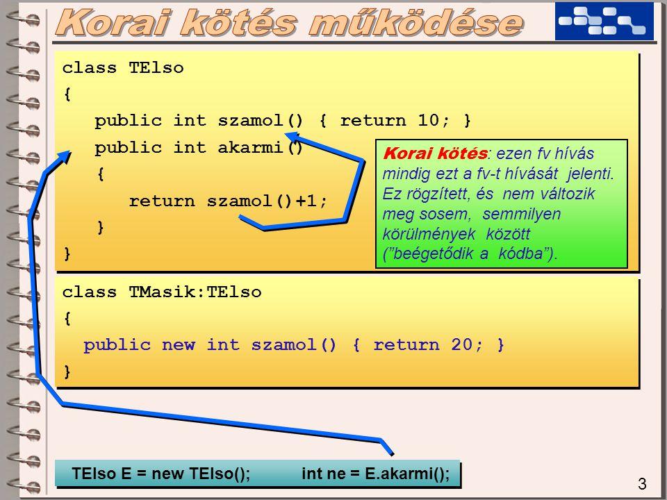 3 class TElso { public int szamol() { return 10; } public int akarmi() { return szamol()+1; } class TElso { public int szamol() { return 10; } public