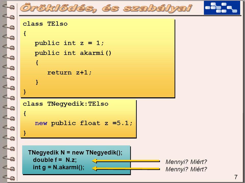 7 class TElso { public int z = 1; public int akarmi() { return z+1; } class TElso { public int z = 1; public int akarmi() { return z+1; } class TNegyedik:TElso { new public float z =5.1; } class TNegyedik:TElso { new public float z =5.1; } TNegyedik N = new TNegyedik(); double f = N.z; int g = N.akarmi(); TNegyedik N = new TNegyedik(); double f = N.z; int g = N.akarmi(); Mennyi.