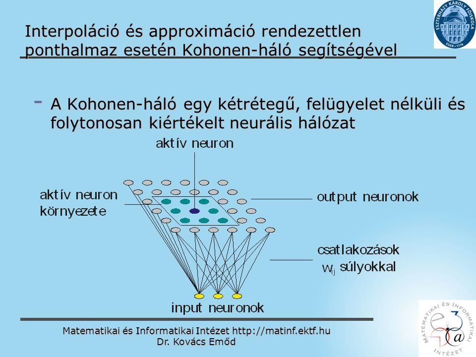 Matematikai és Informatikai Intézet http://matinf.ektf.hu Dr. Kovács Emőd www.ektf.hu Interpoláció és approximáció rendezettlen ponthalmaz esetén Koho