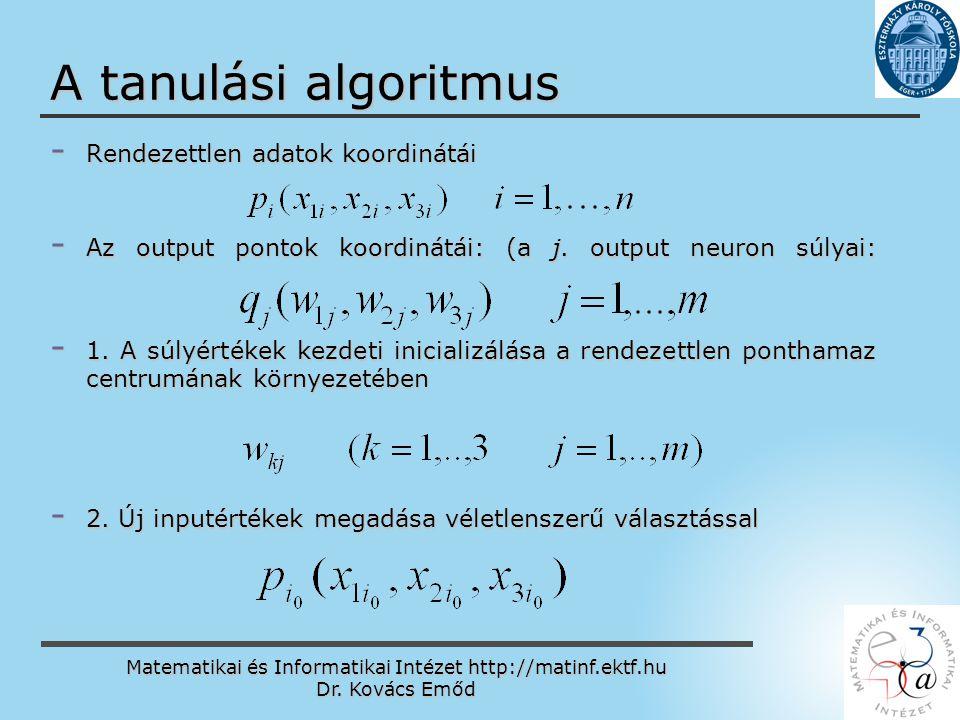 Matematikai és Informatikai Intézet http://matinf.ektf.hu Dr. Kovács Emőd www.ektf.hu A tanulási algoritmus - Rendezettlen adatok koordinátái - Az out