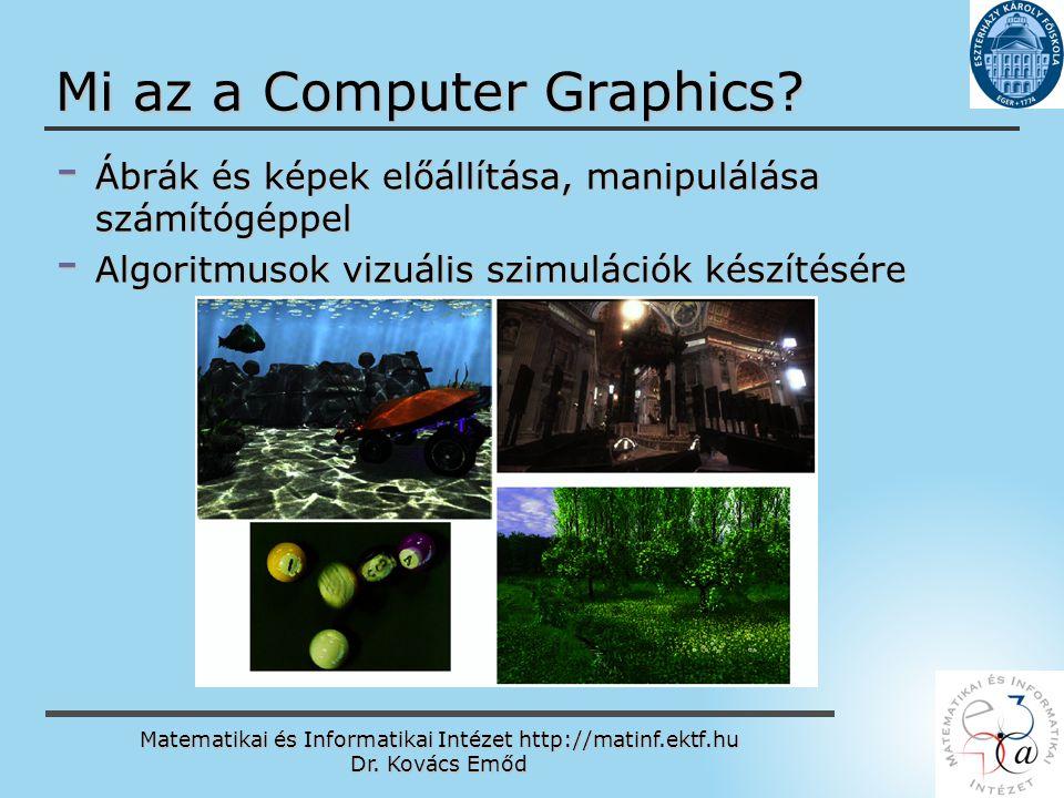 Matematikai és Informatikai Intézet http://matinf.ektf.hu Dr. Kovács Emőd www.ektf.hu Mi az a Computer Graphics? - Ábrák és képek előállítása, manipul