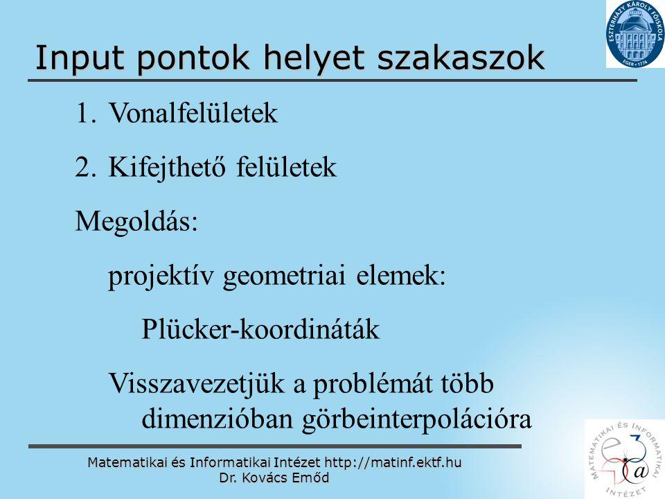 Matematikai és Informatikai Intézet http://matinf.ektf.hu Dr. Kovács Emőd www.ektf.hu Input pontok helyet szakaszok 1. 1.Vonalfelületek 2. 2.Kifejthet