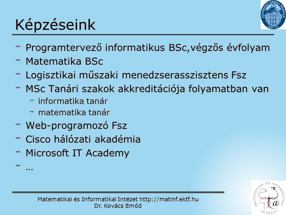 Matematikai és Informatikai Intézet http://matinf.ektf.hu Dr. Kovács Emőd www.ektf.hu Képzéseink - Programtervező informatikus BSc,végzős évfolyam - M