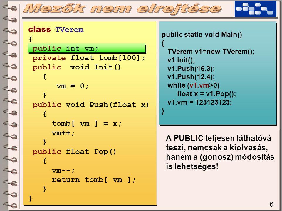 6 public static void Main() { TVerem v1=new TVerem(); v1.Init(); v1.Push(16.3); v1.Push(12.4); while (v1.vm>0) float x = v1.Pop(); v1.vm = 123123123; } public static void Main() { TVerem v1=new TVerem(); v1.Init(); v1.Push(16.3); v1.Push(12.4); while (v1.vm>0) float x = v1.Pop(); v1.vm = 123123123; } A PUBLIC teljesen láthatóvá teszi, nemcsak a kiolvasás, hanem a (gonosz) módosítás is lehetséges.