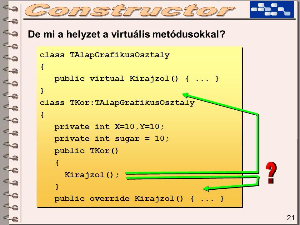 21 De mi a helyzet a virtuális metódusokkal? class TAlapGrafikusOsztaly { public virtual Kirajzol() {... } } class TKor:TAlapGrafikusOsztaly { private