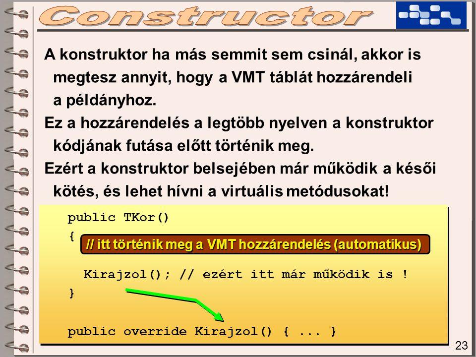 23 A konstruktor ha más semmit sem csinál, akkor is megtesz annyit, hogy a VMT táblát hozzárendeli a példányhoz. Ez a hozzárendelés a legtöbb nyelven