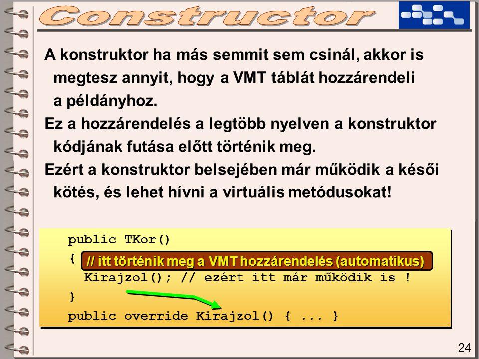 24 A konstruktor ha más semmit sem csinál, akkor is megtesz annyit, hogy a VMT táblát hozzárendeli a példányhoz. Ez a hozzárendelés a legtöbb nyelven