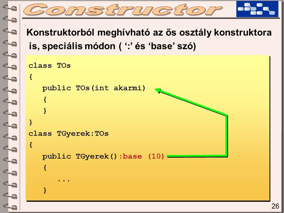 Konstruktorból meghívható az ős osztály konstruktora is, speciális módon ( ':' és 'base' szó) class TOs { public TOs(int akarmi) { } class TGyerek:TOs